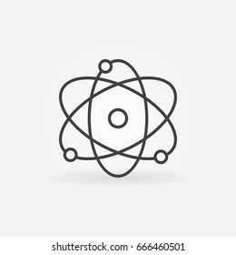 Atom vector icon - thin line science and nuclear concept symbol or design element in thin line style