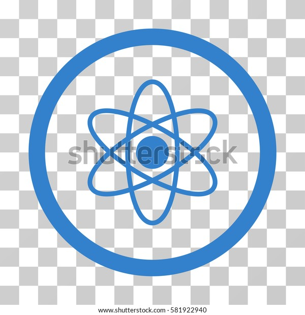 Atom vector pictogram. Illustration style is a flat iconic cobalt symbol on a transparent background.