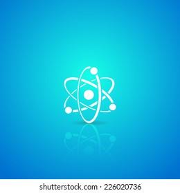 Atom white vector icon on blue gradient background