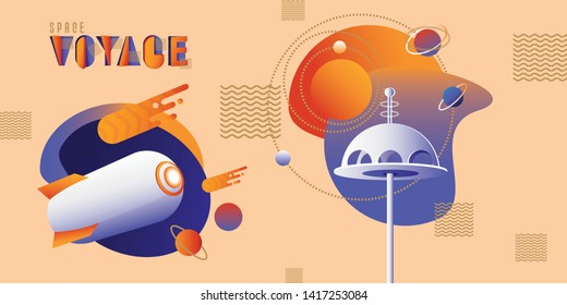 Atomic Age inspired vector illustration set with space rocket, retro futuristic tower and planets