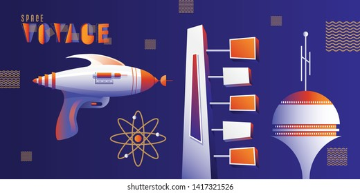 Atomic Age Mid Century Modern inspired vector illustration set with retro ray gun, sign board and space tower