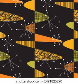 Atomic age vibes geometric seamless pattern for background, wrap, fabric, textile, wrap, surface, web and print design. nostalgic vintage style repeatable motif
