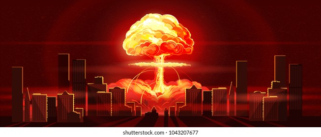 Atomic bomb in city. Symbol of nuclear war, end of world, dangers of nuclear energy. Nuclear explosion