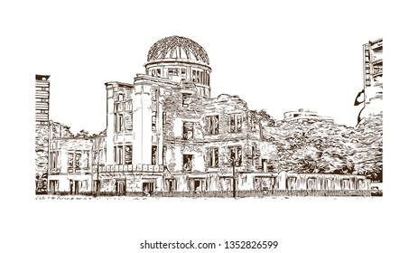 Atomic Bomb Dome, War memorial in Hiroshima, Japan. The Hiroshima Peace Memorial, originally the Hiroshima Prefectural Industrial Promotion Hall. Hand drawn sketch illustration in vector.