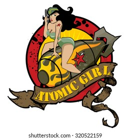 Atomic Girl. A vintage pin-up girl, sexy girl with uniform riding a atomic bomb