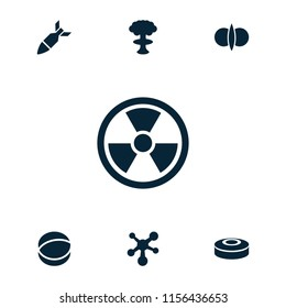 Atomic icon. collection of 7 atomic filled icons such as atom, rocket bomb, smoke bomb, atom fusion, radiation. editable atomic icons for web and mobile.