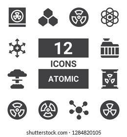 atomic icon set. Collection of 12 filled atomic icons included Radiation, Molecule, Nuclear, Radiator, Benzene, Atomic, Positive ion, Radioactivity
