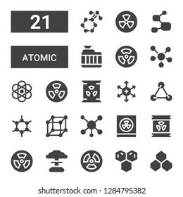atomic icon set. Collection of 21 filled atomic icons included Benzene, Molecule, Radiation, Nuclear, Radioactive, Radioactivity, Molecules, Positive ion, Atomic, Radiator