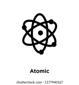 Atomic icon vector isolated on white background, logo concept of Atomic sign on transparent background, filled black symbol