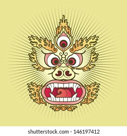 Atomic Mahakala. The image in the style of Op Art based on traditional Tibetan painting.