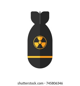 Atomic rocket bomb flies down. A-bomb sign. Vector illustration icon in flat style design, isolated in white background