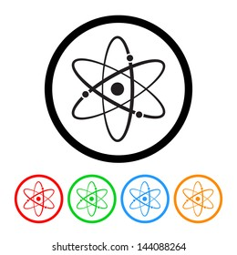 Atomic Symbol Icon Vector with Four Color Variations