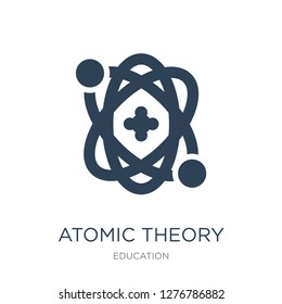 atomic theory icon vector on white background, atomic theory trendy filled icons from Education collection, atomic theory vector illustration