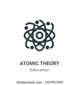 Atomic theory vector icon on white background. Flat vector atomic theory icon symbol sign from modern education collection for mobile concept and web apps design.