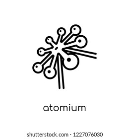 Atomium icon. Trendy modern flat linear vector Atomium icon on white background from thin line Architecture and Travel collection, editable outline stroke vector illustration