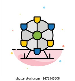 Atomium, Landmark, Monument Abstract Flat Color Icon Template
