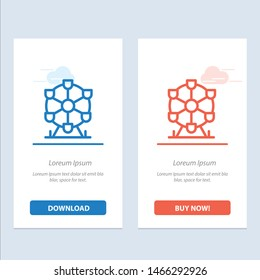 Atomium, Landmark, Monument  Blue and Red Download and Buy Now web Widget Card Template. Vector Icon Template background