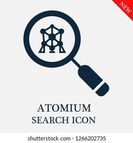 Atomium search icon. Atomium icon in magnifier icon. Editable Atomium search icon for web or mobile.
