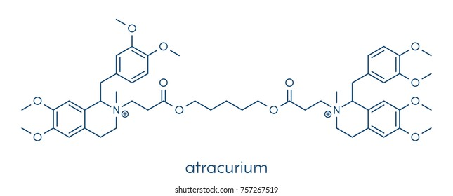 Atracurium skeletal muscle relaxant drug. Used as adjuvant in anesthesia and to induce skeletal muscle relaxation during surgery. Skeletal formula.