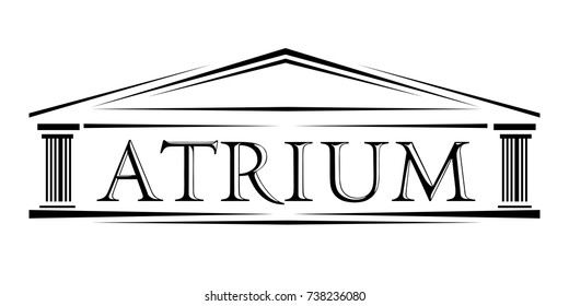 Atrium covered portico classical arch vector logo Roman classical arch with letters atrium facade ionic icon. Simple logotype illustration column and portico for web or print design