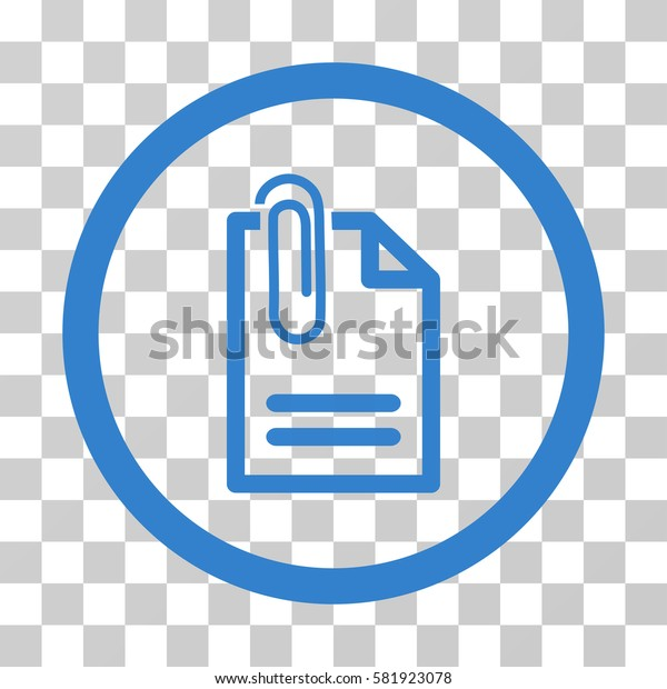Attach Document vector icon. Illustration style is a flat iconic cobalt symbol on a transparent background.