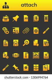 attach icon set. 26 filled attach icons.  Collection Of - Inbox, File, Push pin, Image gallery, Chains, Gallery, Attachment, Paperclip, Sharpener