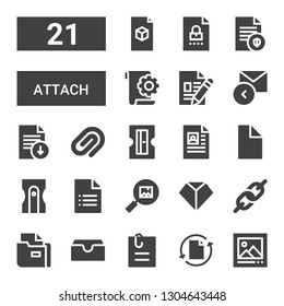 attach icon set. Collection of 21 filled attach icons included Picture, File, Attached file, Inbox, Link, Sharpen, Sharpener, Paper clip, Reply