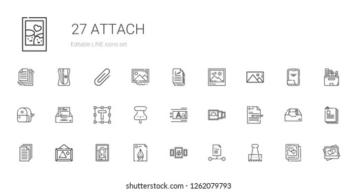 attach icons set. Collection of attach with paper clip, file, picture, pictures, files, text editor, pushpin, text formatting, inbox, sharpener. Editable and scalable attach icons.