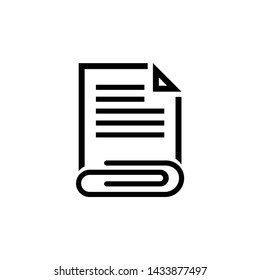 Attached Document, File and Clip Flat Vector Icon illustration. Simple black symbol on white background. Attached Document, File and Clip sign design template for web and mobile UI element