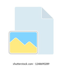 Attached Photo file icon on white background. Vector illustration - Attach Photo document icon