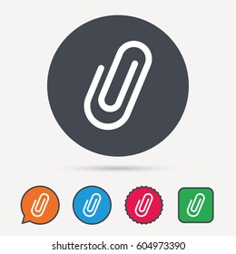Attachment icon. Paper clip symbol. Circle, speech bubble and star buttons. Flat web icons. Vector