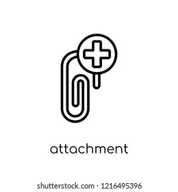attachment icon. Trendy modern flat linear vector attachment icon on white background from thin line collection, outline vector illustration
