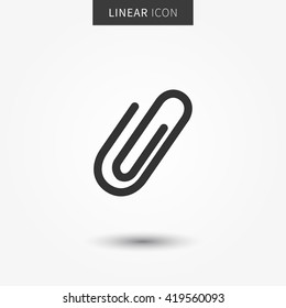 Attachment icon vector illustration. Isolated attach symbol. Paper clip line concept. Staple graphic design. Attachment outline symbol for app. Paperclip pictogram on grey background.