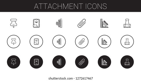 attachment icons set. Collection of attachment with pushpin, paper clip, stationary, clip, stationery. Editable and scalable attachment icons.