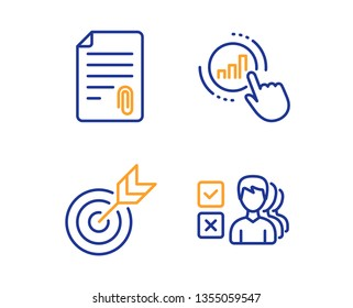 Attachment, Target and Graph chart icons simple set. Opinion sign. Attach file, Targeting, Get report. Choose answer. Education set. Linear attachment icon. Colorful design set. Vector