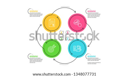 attachment, target and graph chart icons simple set  infographic timeline   opinion sign