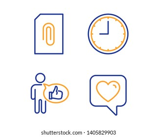 Attachment, Time and Like icons simple set. Heart sign. Attach document, Office clock, Thumbs up. Like rating. Linear attachment icon. Colorful design set. Vector