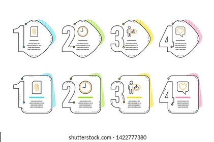 Attachment, Time and Like icons simple set. Heart sign. Attach document, Office clock, Thumbs up. Like rating. Infographic timeline. Line attachment icon. 4 options or steps. Vector