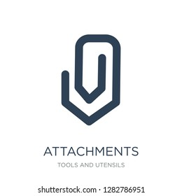 attachments icon vector on white background, attachments trendy filled icons from Tools and utensils collection, attachments vector illustration