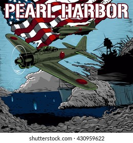 Attack on Pearl Harbor vector illustration.