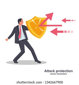 Attack protection. Businessman holds a shield defending from attacks. Reflection impact. Vector illustration flat design. Isolated on white background. Series of successful business people.