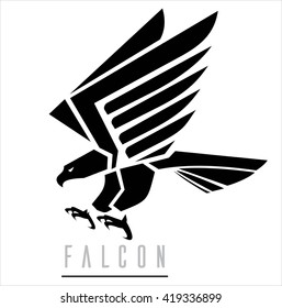 Attacking Falcon, Flying Eagle, spread out its feather