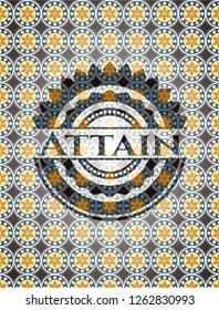 Attain arabic badge background. Arabesque decoration.