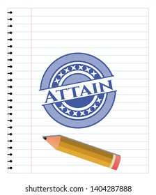 Attain draw (pen strokes). Blue ink. Vector Illustration. Detailed.