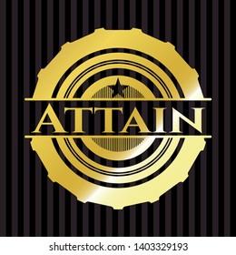Attain gold emblem. Vector Illustration. Detailed.
