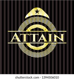 Attain golden badge or emblem. Vector Illustration. Detailed.