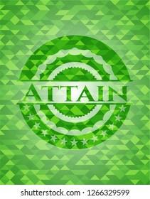 Attain green emblem. Mosaic background