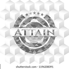 Attain grey emblem with cube white background