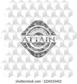 Attain grey emblem with geometric cube white background
