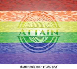 Attain lgbt colors emblem. Vector Illustration. Mosaic.
